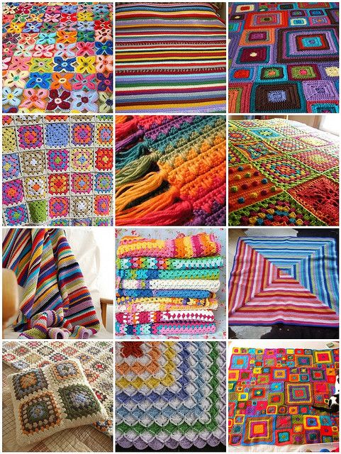 Colorful Crochet Blankets on Flickr    1. Hawaiian flowers lap blanket, 2. double size blanket, 3. Babette blanket, 4. Granny Square Blanket, 5. Rainbow Waves Afghan, 6. summer squares on the side, 7. colourful blanket, 8. Stack of happy crochet, 9. log cabin baby blanket, 10. 'ghan pillow front, 11. Babies love colours!!!, 12. babette - done