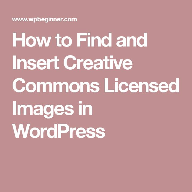 How to Find and Insert Creative Commons Licensed Images in WordPress