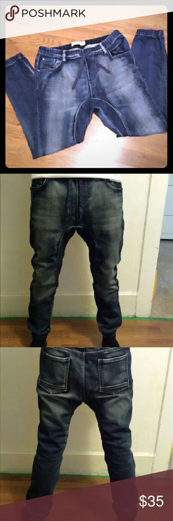 Mens Biker Style Denim Joggers size 32w Medium Mens Biker style joggers Made by Designer brand Track denim.  Excellent condition. Zero holes, tears or stains practically new still. Size 32/Medium mens Bundle and save! Ships within 24 hrs track denim Pants Sweatpants & Joggers