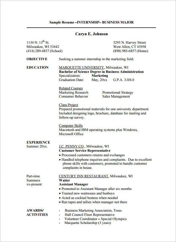 Internship 4 Resume Examples