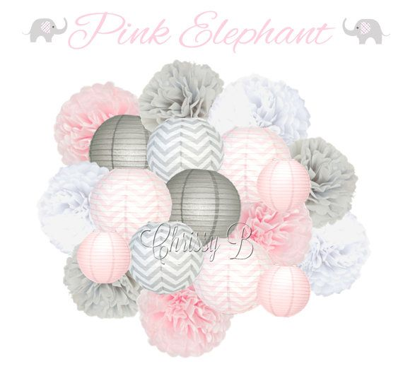 Pink And Gray Deluxe Tissue Pom Set With Paper Lanterns   Pink And Gray  Party Decorations