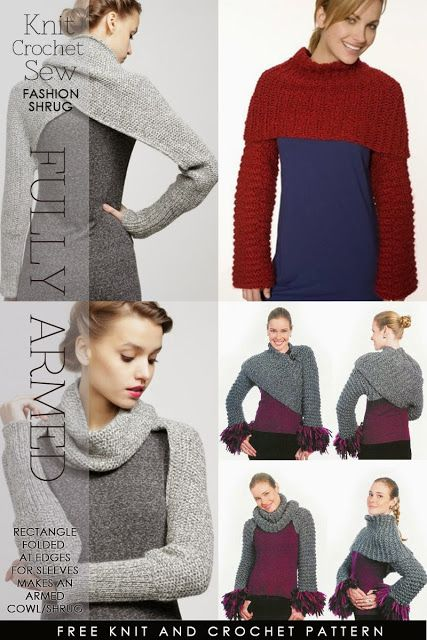 Long sleeved shrug - knit and crochet patterns by DiaryofaCreativeFanatic