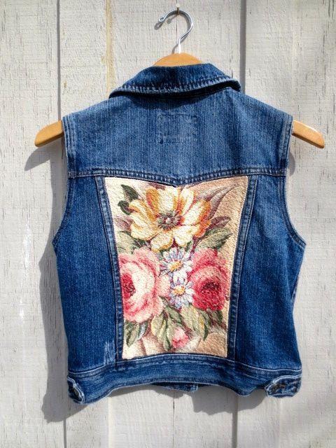 Upcycled Denim Vest, Cowgirl, Jean Jacket, Tattered Grunge, Shabby Cottage Chic, Vintage Fabric, Glen Court Barkcloth, Cabbage Roses