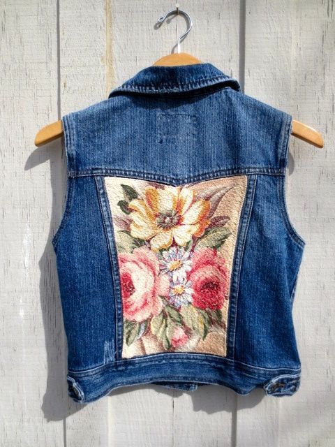 Upcycled Denim Vest, Cowgirl, Jean Jacket, Tattered Grunge, Shabby Cottage Chic, Vintage Fabric, Glen Court Barkcloth, Cabbage Roses