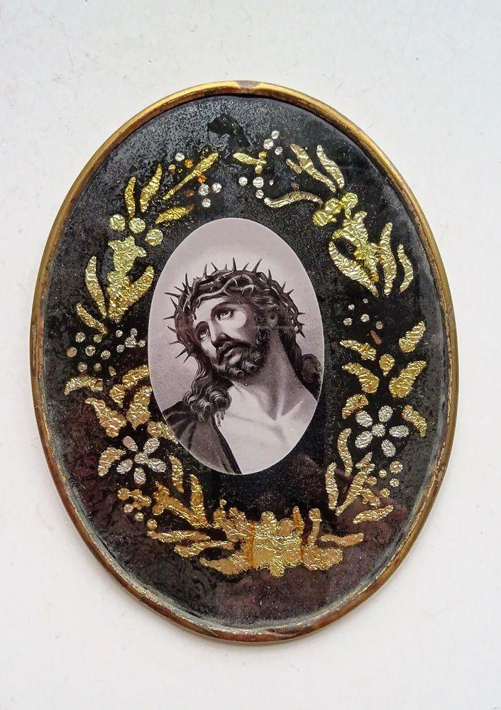 Heiligenbild Andachtsbild holy card Image pieuse Santino Glas Jesu Jesus  | eBay