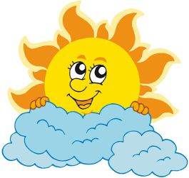 Sun with clouds. Partially covered Game