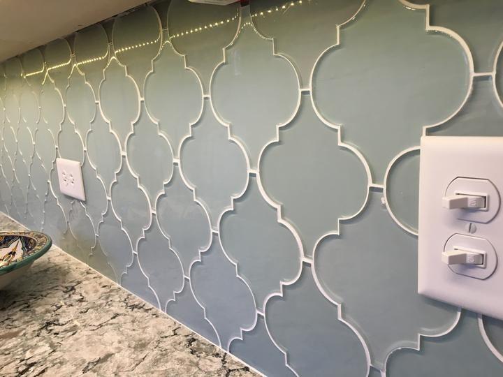 Jasper Blue Gray Arabesque Glass Mosaic Tiles - Rocky Point Tile - Glass and Mosaic Tile Store