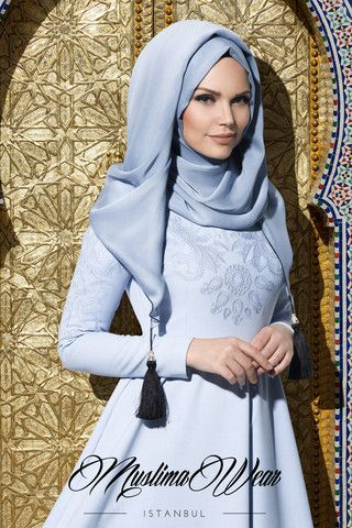 Muslima Wear. Dress with aqua silky floral embroidery  Baby Blue the last one