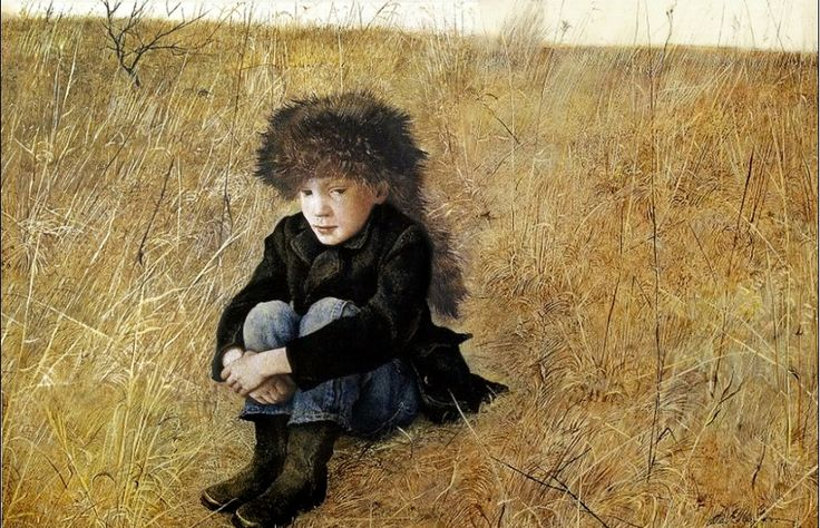'Faraway' - Andrew Wyeth | portrait of Jamie Wyeth, 1952 | dry-brush tempera,