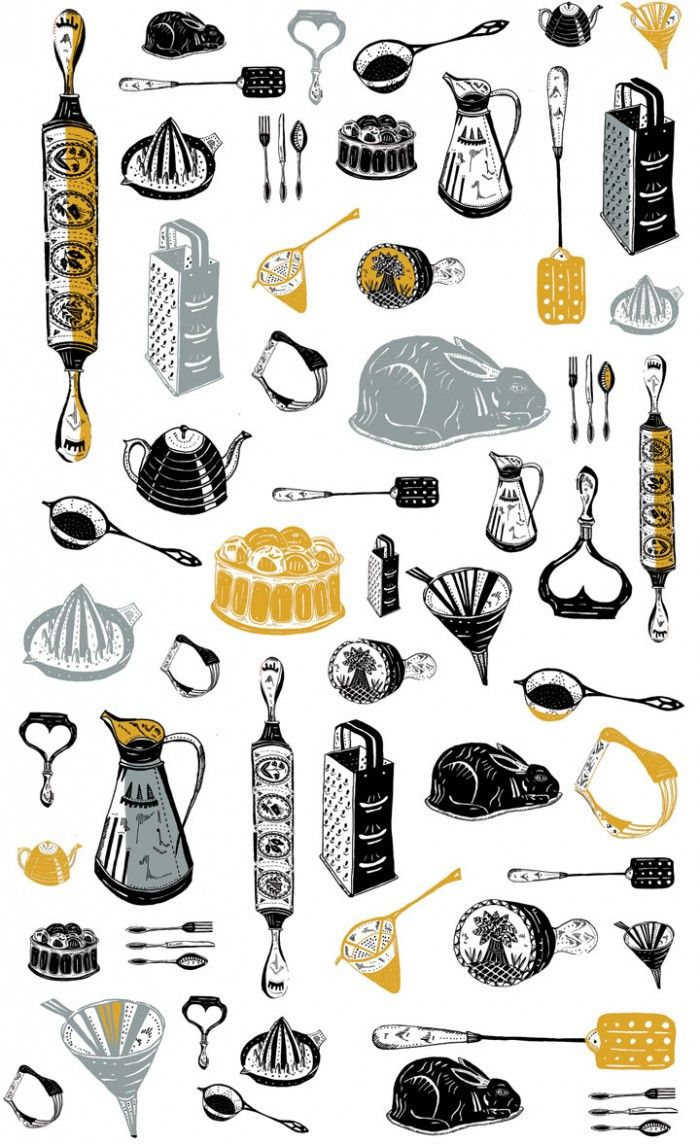 Emily Maude, vintage, print, pattern, household, utensils, repeat, printmaking, illustration, drawing, colour