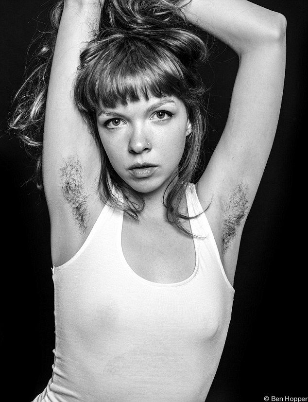 Sparking a discussion: 'The whole point is contrast between fashionable female beauty and the raw unconventional look of female armpit hair,' said Israeli-born Mr Hopper