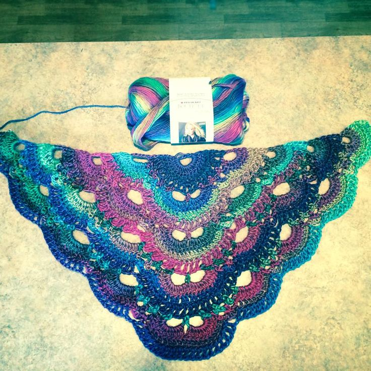Virus Shawl patter in Unforgettable Yarn (Stained Glass color)