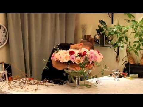 Уроки флористики Славы Роска. Французский букет из душистых роз на каркасе из вербы. - YouTube