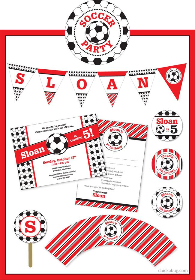 Soccer party paper goods  printables