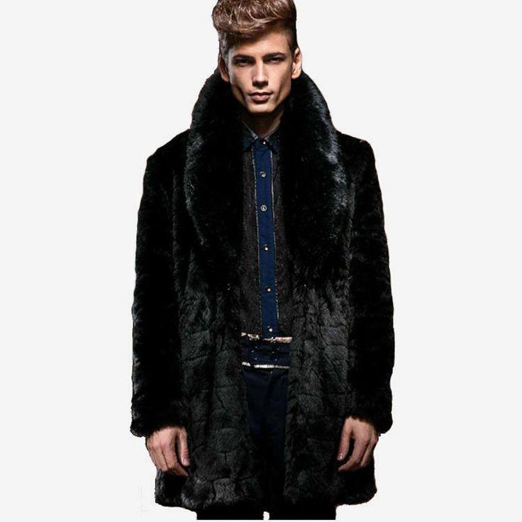 2016 Inverno Homens Moda Fur Collar Longo falso vison casacos de pele preto masculino Fur Casacos Casual Plus Size do revestimento da pele XXXL W633
