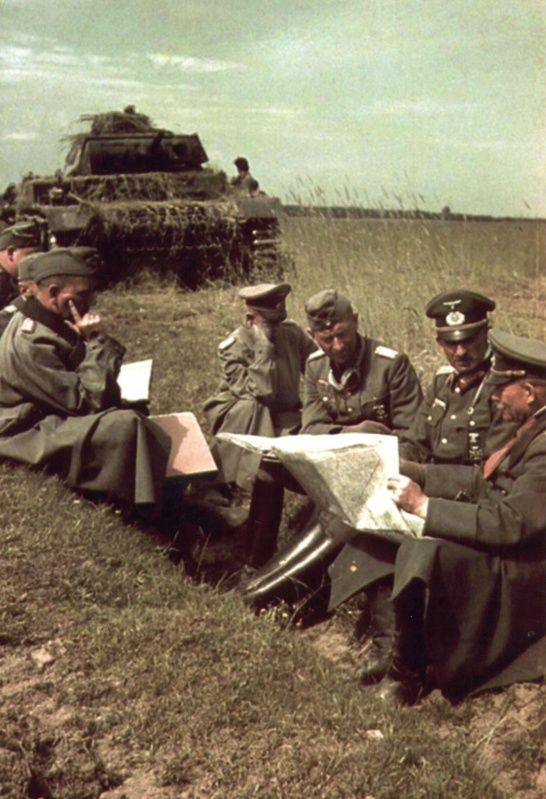 German general Heinz Wilhelm Guderian and other high officers during a briefing .Russia 1941