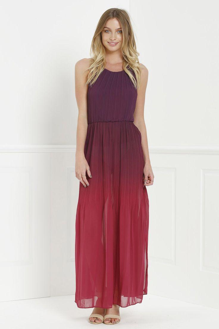 Halter Ombre Color High Slit Maxi Dress