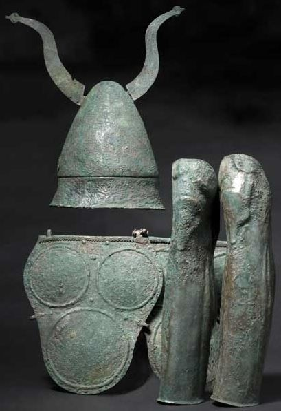 Samnite warrior's armour consisting of a Pilos type helmet, armour and greaves, 4th/3rd century B.C. Sanniti, Samnite armour. Private collection, from Hermann Historica auction