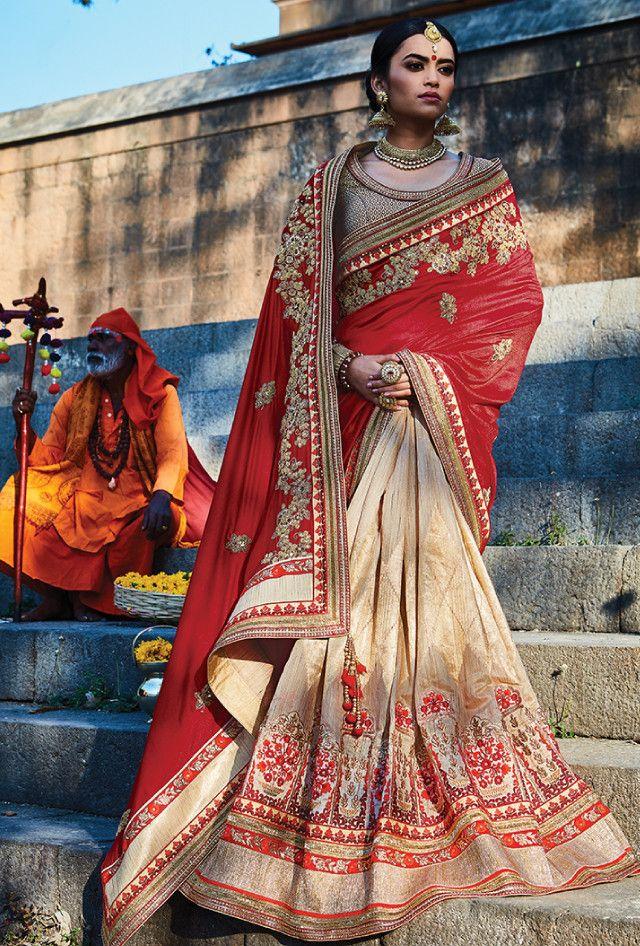 Red and beige designer party wear saree