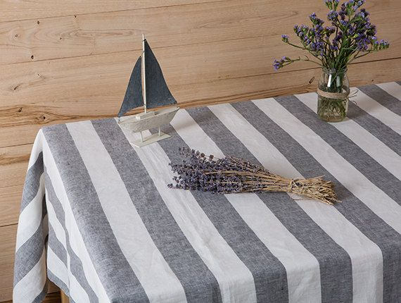 Striped Linen tablecloth in Grey and White by LinenHomeDecor