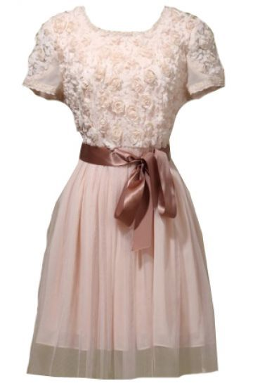 Pink Short Sleeve Flowers Embellished Belt Dress - Sheinside.com Mobile Site