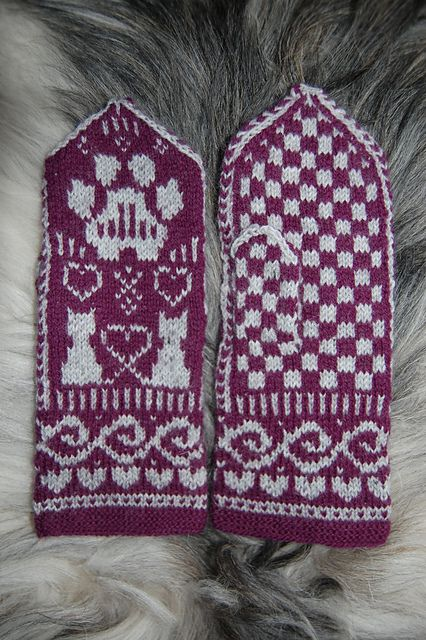 Ravelry: Cat TuttiFrutti Mittens pattern by Connie H Design