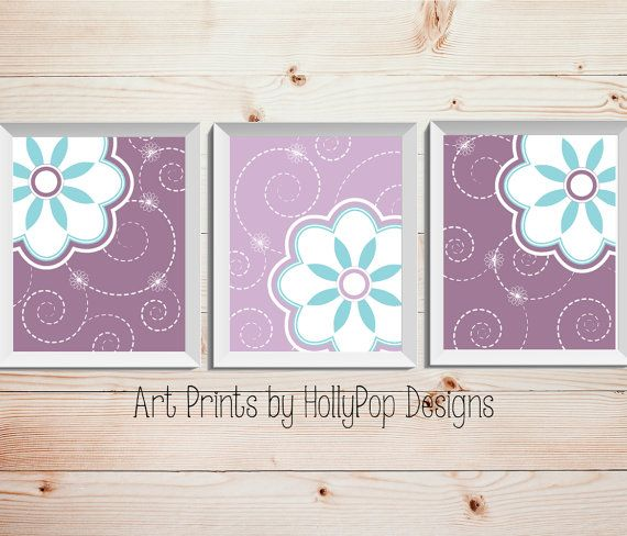 Purple Teal Nursery Decor Girl's Room by HollyPopDesigns on Etsy