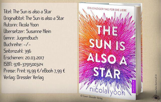 """""""The Sun is also a Star"""" von Nicola Yoon ist ein aktueller Roman der über Rassismus, Integration, Schicksals- und Zukunftsfragen und über die """"Liebe"""" schreibt. Ein interessanter Plot, der mich trotz schöner poetischer Abschnitte nicht überzeugen konnte. ~ unrealistische Handlungen ~ emotionslos ~ langatmig (2,5 von 5 Blumen)"""
