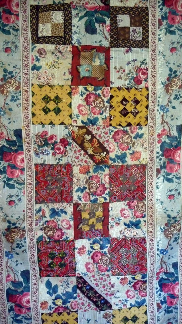"Antique Chntz Quilt Top, early 1800s, Cow Hollow Collectibles, early 19th century, probably some (many) chintz pieces from 18th century, 153 4.5"" blocks, some blocks have as many as 36 pieces"