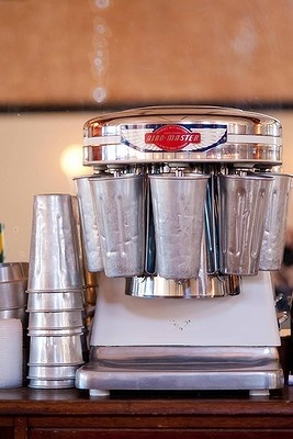 Original beauty ...milkshake machine & metal cups at the Roxy Theatre and Cafe in northern NSW, Australia, has been restored to its Art Deco glory.