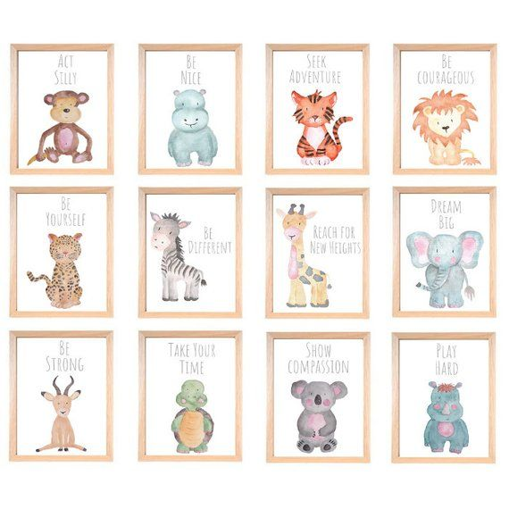 Safari Nursery Decor Safari Set Of 12 Animal Nursery Prints