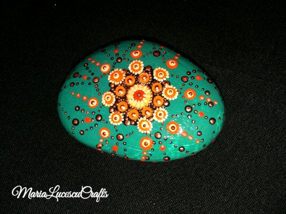 Hand-painted mandala stone dot art turquoise by MariaLucescuCrafts