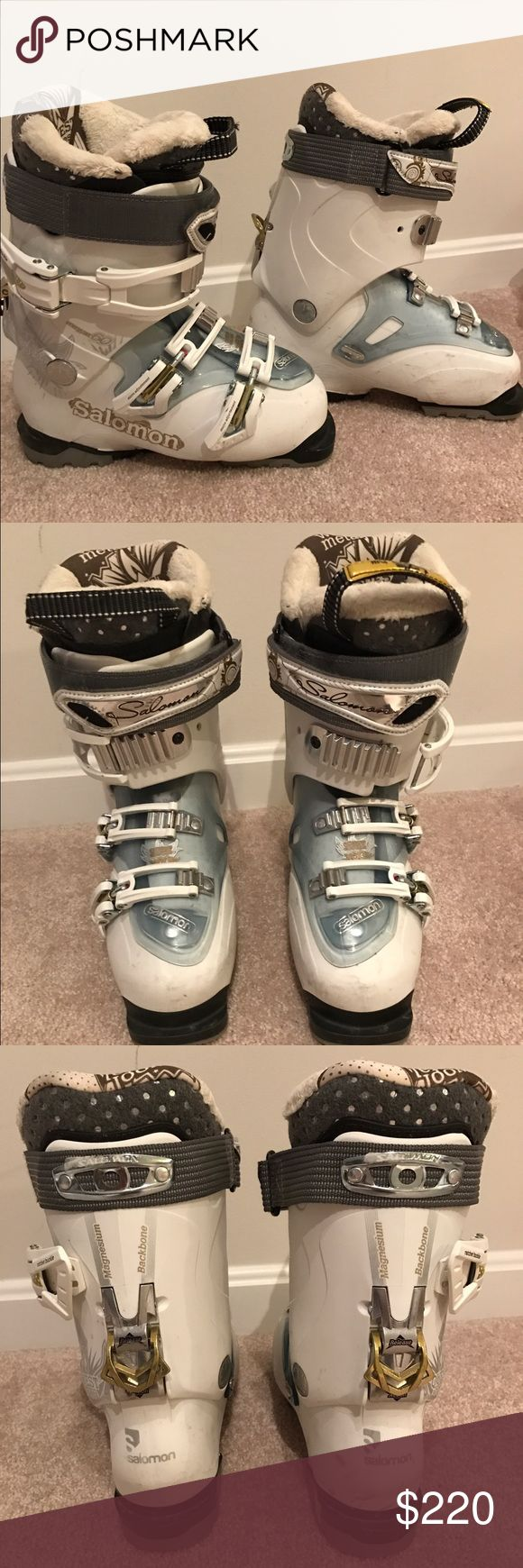 Salomon ski boots (women) Women's Salomon Quest downhill ski boots. Size Mondo 22/23 (6-6.5). Used only a few times, condition shows it. High quality warm liner. Excellent condition. Originally paid $350 from REI Salomon Other