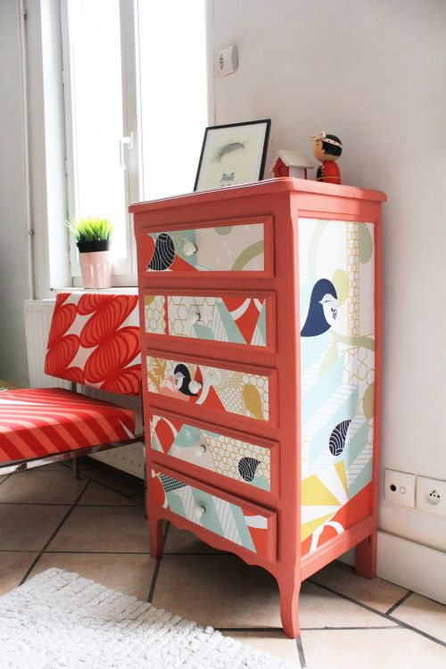 fun paint and fabric applied to a cute vintage dresser - great way to add color to a white-walled room.