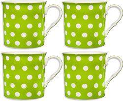Lime green polka dot coffee mugs