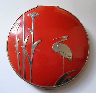 1934 Stratton Art Deco Non Spill Heron or Stork Red Compact 1930s