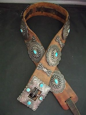 Navajo-Silver-and-Turquoise-Concho-Belt-Circa-1920s-STERLING-Old-Pawn-G023 Check out our Collection of Belts...
