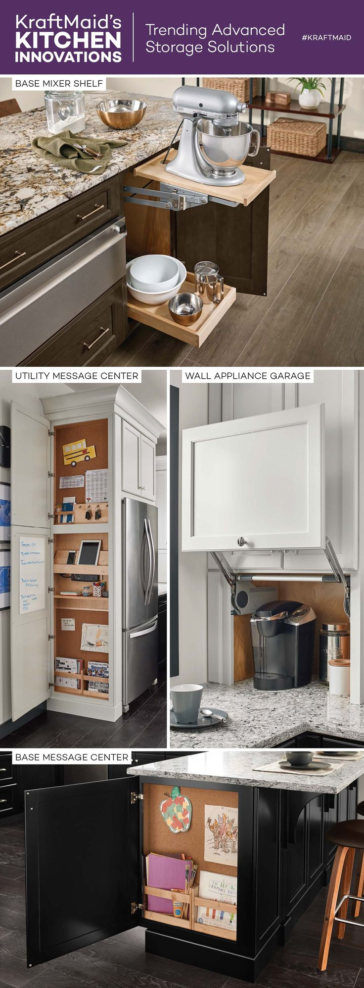 keep appliances and messaging centers hidden yet within reach with these kitchen innovations from