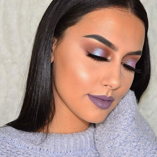Blacklight looks beautiful on you @lailatahri.  Tap the link in our bio to shop Blacklight---a purple duochrome eyeshadow with icy blue reflects.