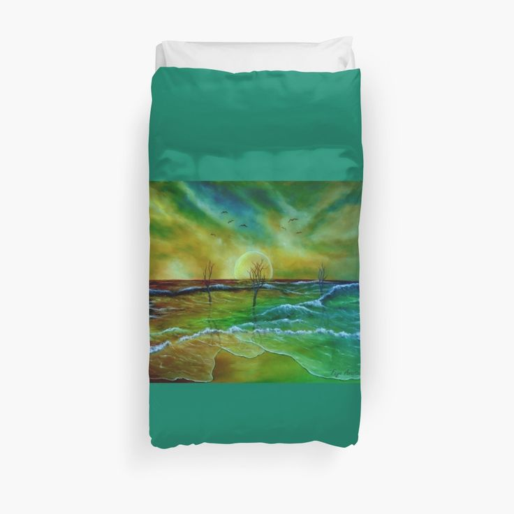 Duvet Cover, bed decor, for sale, home,accessories,bedroom,decor,cool,unique,fancy,artistic,trendy,unusual,awesome,beautiful,modern,fashionable,design,items,products,ideas,green,colorful,sunset,sea,ocean,coastal,scene,waves,nature,fantasy,redbubble