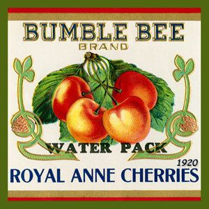 Olde America Antiques   Quilt Blocks   National Parks   Bozeman Montana : Vintage Canning Labels Hot Pads - Bumble Bee Royal Ann Cherries