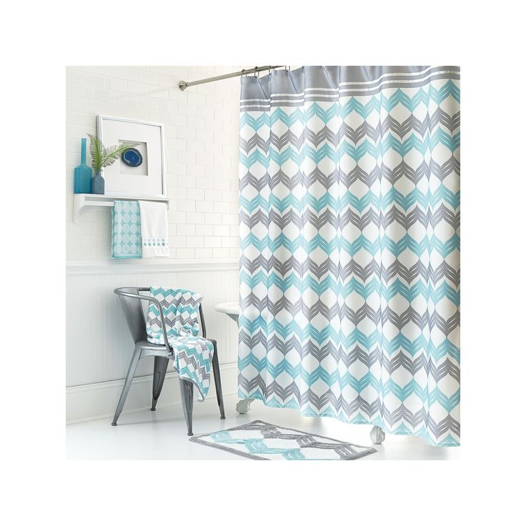 Mondrian Chevron Fabric Shower Curtain, Multicolor