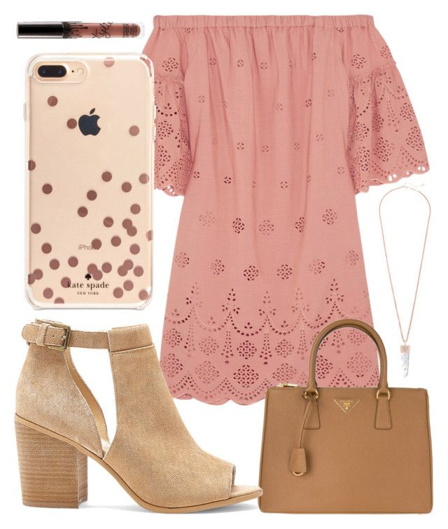 """""""Rosegold"""" by jadenriley21 on Polyvore featuring Madewell, Prada, Kate Spade, Sole Society and Kendra Scott"""