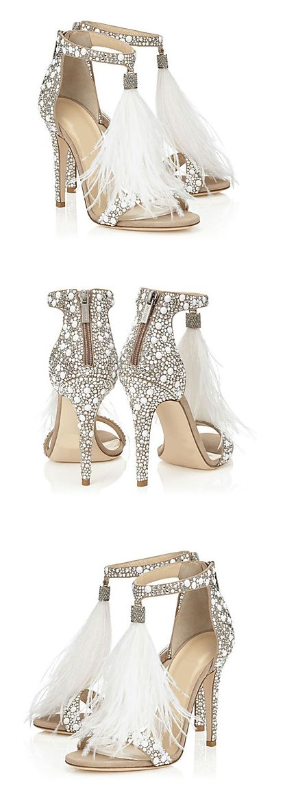 Angels are walking among us wearing these stunning sexy silver sparkle feather embroided stiletto sandals. Get them at €49.33