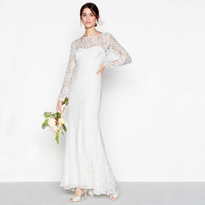 Debut Debut Ivory Lace Eleanor High Neck Long Sleeves Full Length Wedding Dress This Fall Wedding Dress Sleeves Wedding Dresses Affordable Wedding Dresses