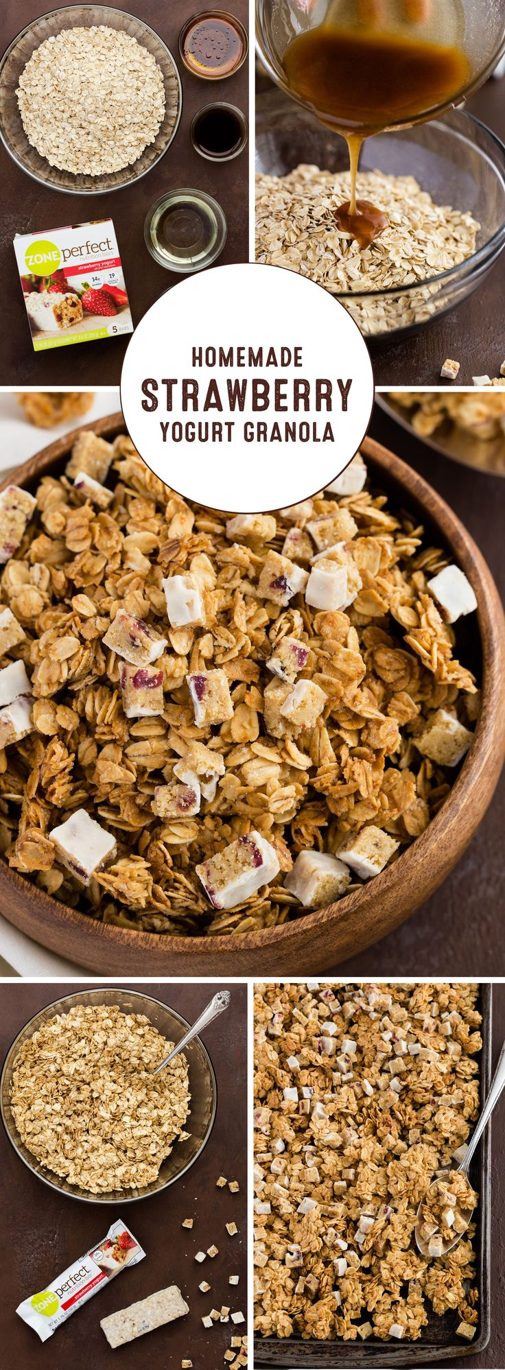 Freshen up your snacking in the new year by making this recipe for Homemade Strawberry Yogurt Granola! You can have a flavorful and wholesome morning treat ready for your busy day by prepping this crunchy topping ahead of time. Plus, using oats, honey, and chopped ZonePerfect Nutrition Bars, it couldn't be easier to making sticking to your nutrition goals simply delicious.