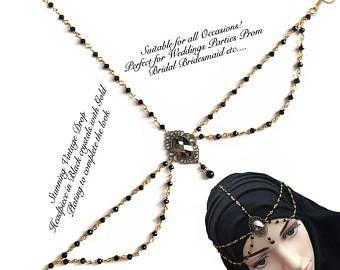 Black head wear , gold head piece , hijab jewelry , forehead jewels , matha patti , asian hair jewels , hair jewelry , hair accessories