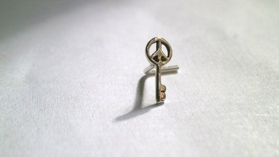 Tiny Nose Stud Silver Stud Peace Key Post by JewelryByKonstantis
