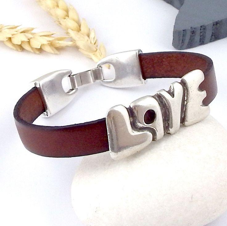 kit tutoriel bracelet cuir love pere marron double passant love plaque argent : Kits, tutoriels bijoux par bijoux-giuliana