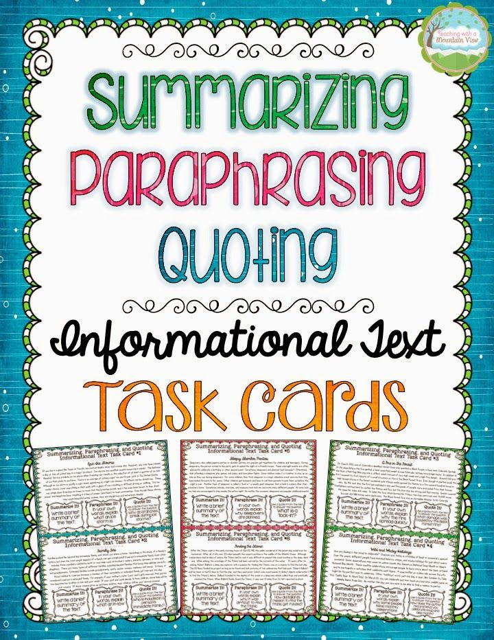 Summarizing Paraphrasing And Quoting Text Informational Task Card V Pdf Technique